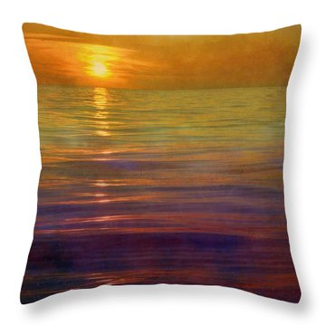 Throw Pillow featuring the digital art Great Lakes Setting Sun by Michelle Calkins