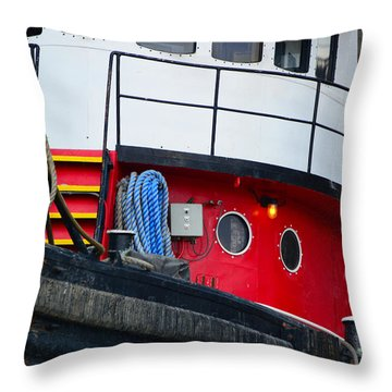 Great Lakes Tugboat Throw Pillow