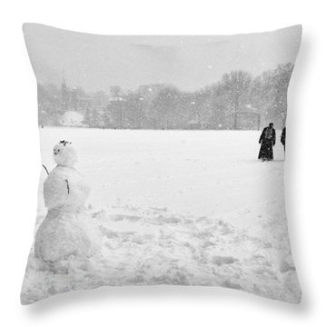 Great Lawn Blizzard 2008 Throw Pillow by Dave Beckerman