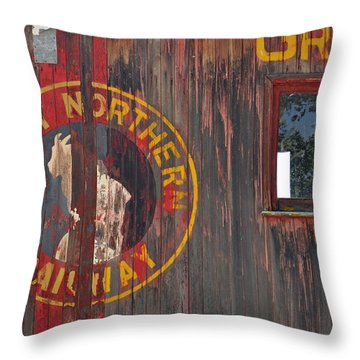 Great Northern Railway Old Boxcar Throw Pillow by Bruce Gourley