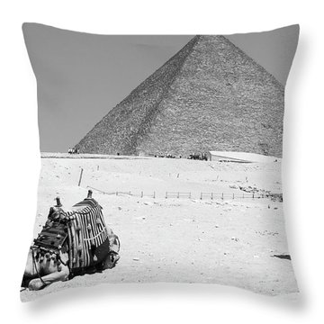 Throw Pillow featuring the photograph great pyramids of Giza by Silvia Bruno