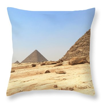 Throw Pillow featuring the photograph Great Pyramids Of Gizah by Silvia Bruno