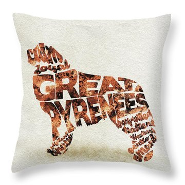 Throw Pillow featuring the painting Great Pyrenees Watercolor Painting / Typographic Art by Ayse and Deniz