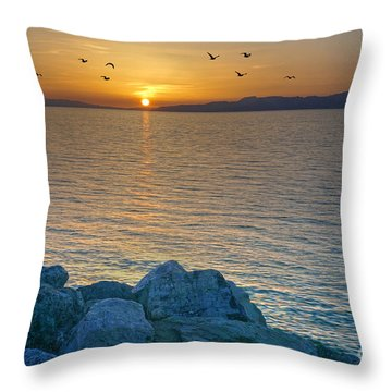 Great Salt Lake At Sunset Throw Pillow by Martin Konopacki