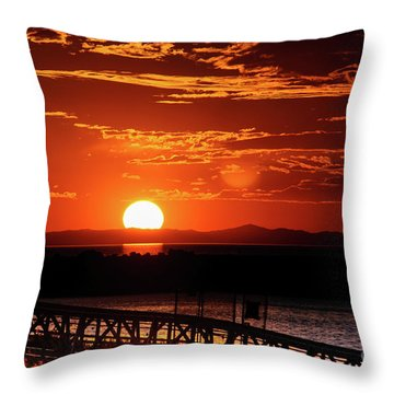 Great Salt Lake Sunset Throw Pillow