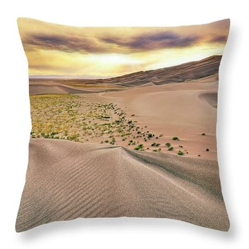 Throw Pillow featuring the photograph Great Sand Dunes Sunset - Colorado - Landscape by Jason Politte