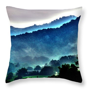 Great Smokey Mountains Throw Pillow by Susanne Van Hulst