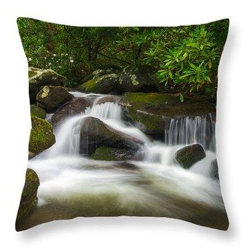 Great Smoky Mountains Gatlinburg Tn Roaring Fork Waterfall Nature Throw Pillow