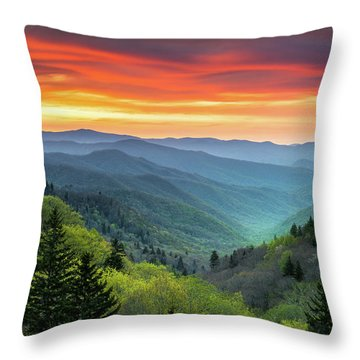 Great Smoky Mountains National Park Gatlinburg Tn Scenic Landscape Throw Pillow