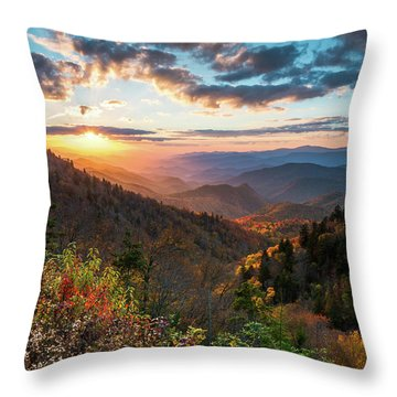 Great Smoky Mountains National Park Nc Scenic Autumn Sunset Landscape Throw Pillow