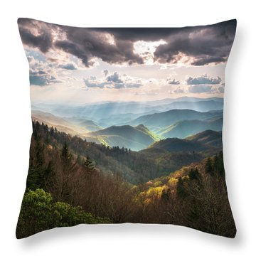 Great Smoky Mountains National Park North Carolina Scenic Landscape Throw Pillow