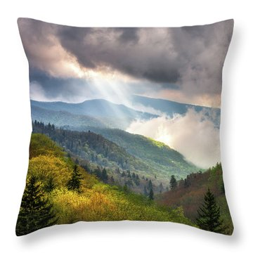 Great Smoky Mountains National Park Scenic Landscape Gatlinburg Tn Throw Pillow