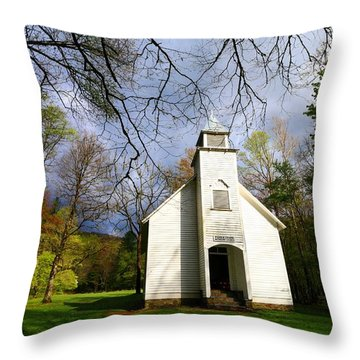Great Smoky Mountains Spring Storms Over Palmer Chapel  Throw Pillow