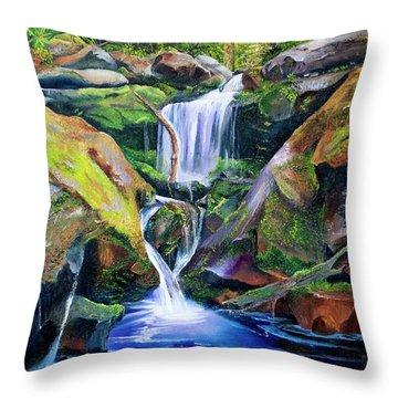 Great Smoky Waterfall Throw Pillow