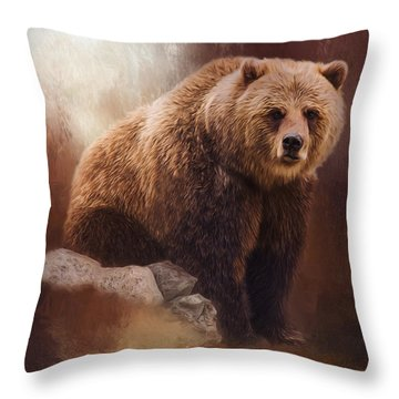 Great Strength - Grizzly Bear Art Throw Pillow