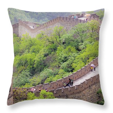 Great Wall At Badaling Throw Pillow
