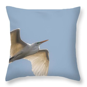 Throw Pillow featuring the photograph Great White Egret - 2 by David Bearden