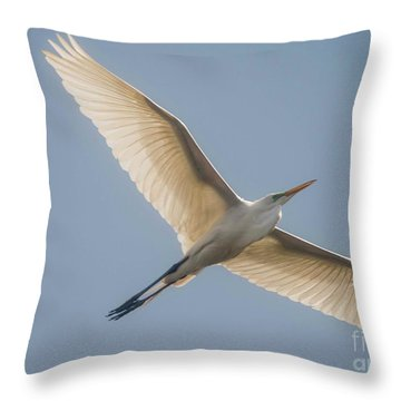 Throw Pillow featuring the photograph Great White Egret by David Bearden
