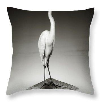 Great White Egret On Hippo Throw Pillow