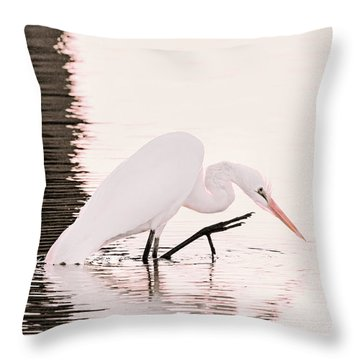Throw Pillow featuring the photograph Great White Egret Pink Sunset by Jennie Marie Schell