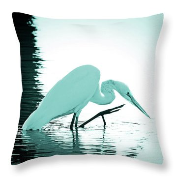 Throw Pillow featuring the photograph Great White Egret Teal Sunset by Jennie Marie Schell