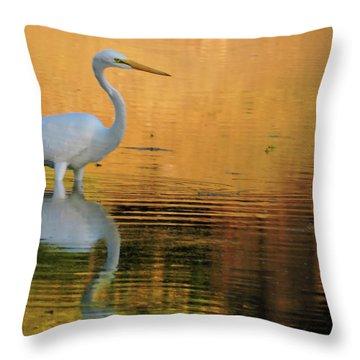 Great White On Gold Throw Pillow