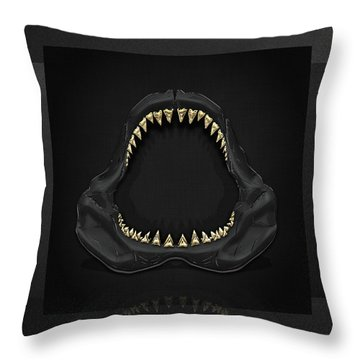 Great White Shark Jaws With Gold Teeth  Throw Pillow