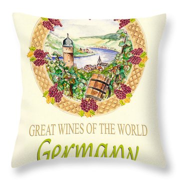 Great Wines Of The World - Germany Throw Pillow by John Keaton
