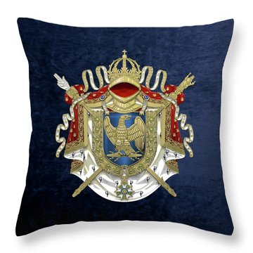 Greater Coat Of Arms Of The First French Empire Over Blue Velvet Throw Pillow