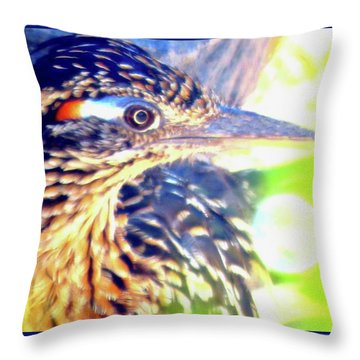 Greater Roadrunner Portrait 2 Throw Pillow