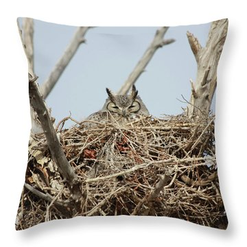 Greathornedowl3 Throw Pillow