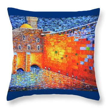 Throw Pillow featuring the painting Wailing Wall Greatness In The Evening Jerusalem Palette Knife Painting by Georgeta Blanaru