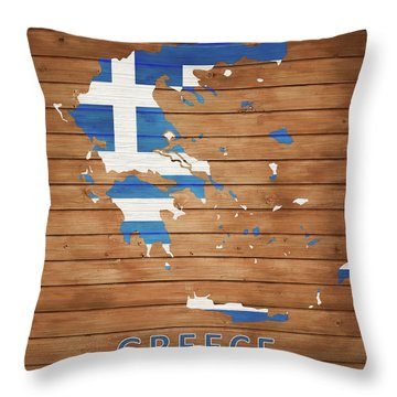 Greece Rustic Map On Wood Throw Pillow