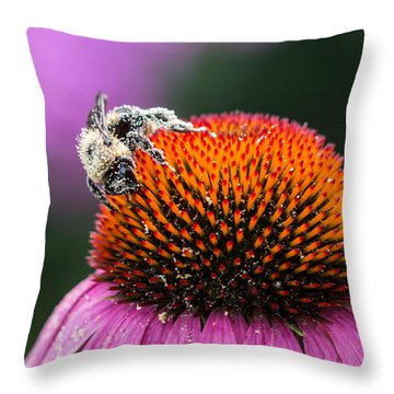 Greedy Bee Throw Pillow by Cathy Donohoue