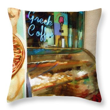 Throw Pillow featuring the photograph Greek Coffee by Sandy MacGowan