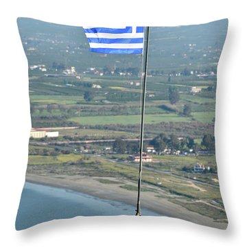 Greek Flag On Palamidi Castle Throw Pillow