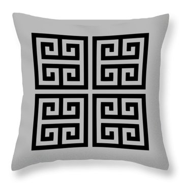 Greek Key Black Background 02-p0108 Throw Pillow