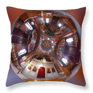 Greek Orthodox Church Interior Throw Pillow