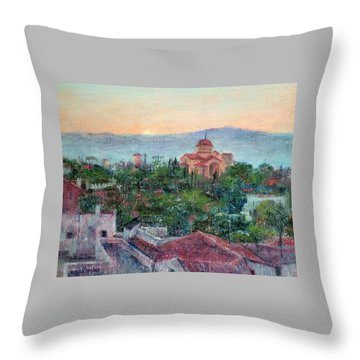 Greek Orthodox Sunset Throw Pillow by Jill Musser
