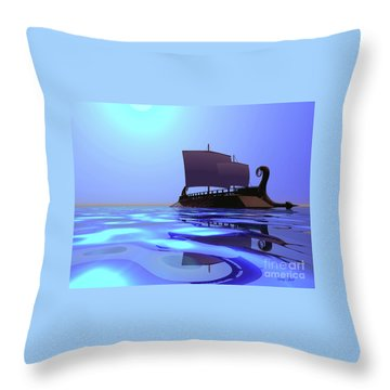 Greek Ship Throw Pillow by Corey Ford
