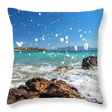 Greek Surf Spray Throw Pillow