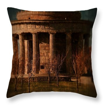 Greek Temple Monument War Memorial Throw Pillow by Angie Tirado