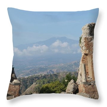 Greek Theatre Taormina Throw Pillow