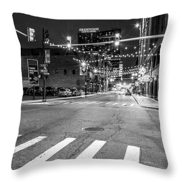 Greek Town In Black And White Throw Pillow