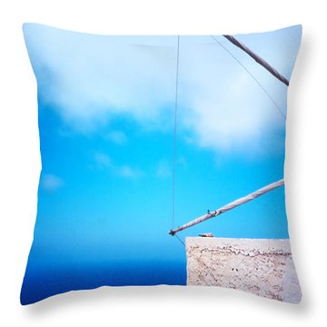 Greek Windmill Throw Pillow by Silvia Ganora