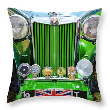 Throw Pillow featuring the photograph Green 1948 Mg Tc by Chris Dutton