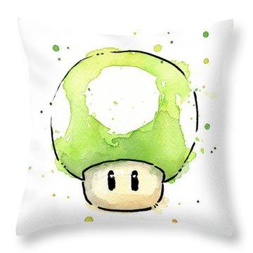 Green 1up Mushroom Throw Pillow