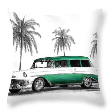 Green 56 Chevy Wagon Throw Pillow by Peter Piatt