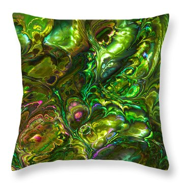 Green Abalone Abstract Throw Pillow