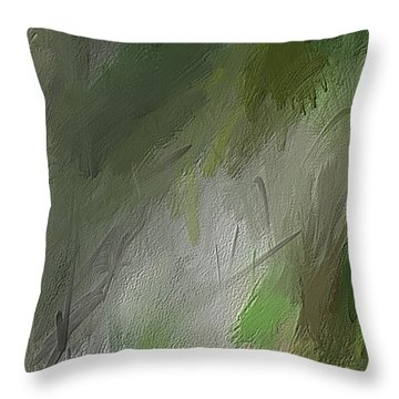 Throw Pillow featuring the painting Green Abstract Wall Art by Lourry Legarde